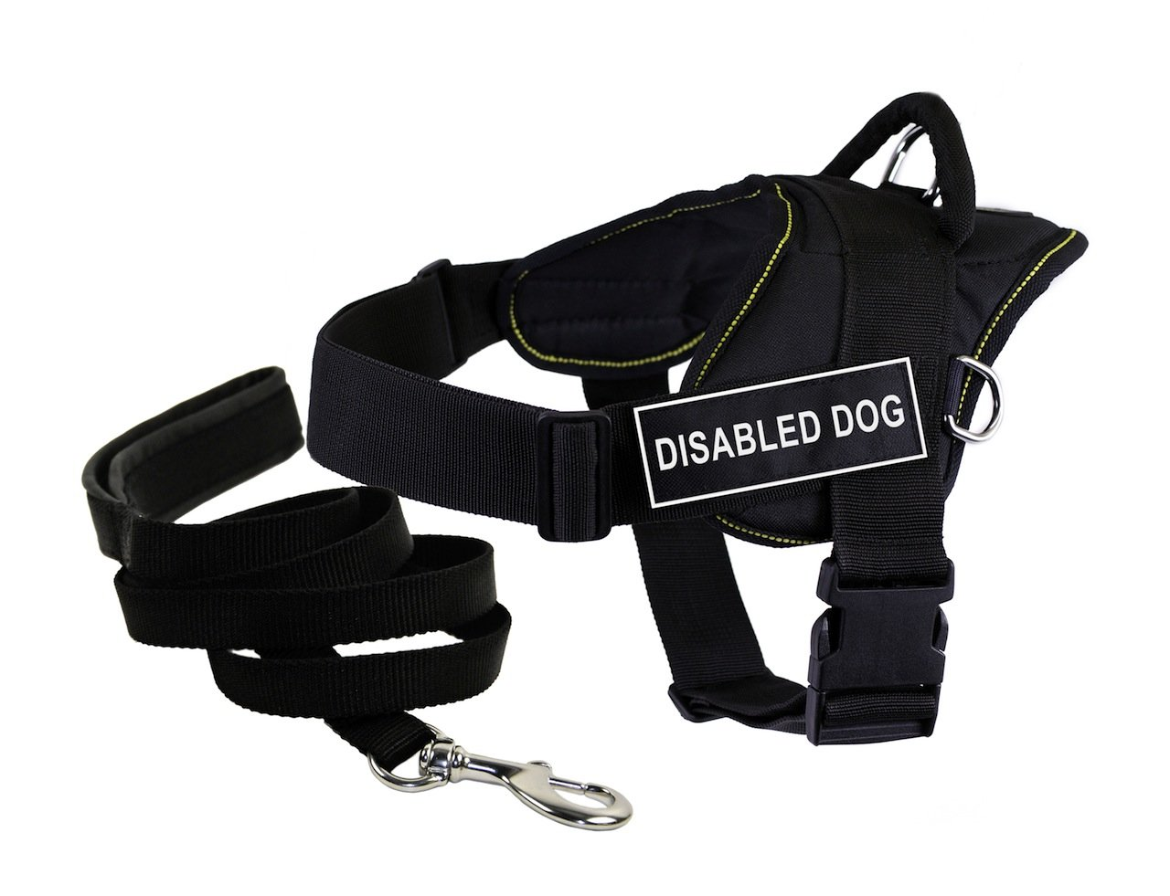 Dean & Tyler Bundle DT Fun Works Yellow Trim X-Large 34 to 47-Inch Disabled Dog  Harness with Padded Puppy Leash and 6-Feet Stainless Steel Snap, Black