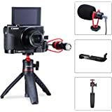 G7X Mark III Vlog Kit,Video Microphone+Extension Tripod+L Bracket Mic Mount Kit for Canon G7X Mark III Vlogging Accessories