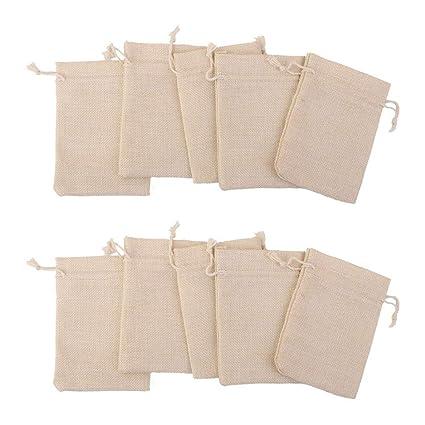 Amazon.com: NiceWave - Bolsas de yute de lino duraderas, 10 ...