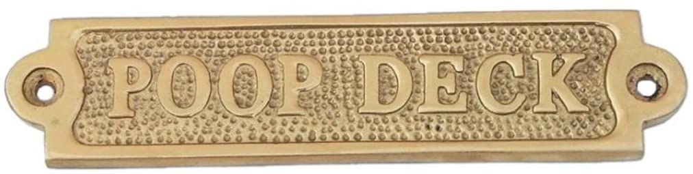 "New Age Imports, Inc. Brass Poop Deck Sign 6"" - Solid Brass Wall Plaque - Novelty Sign"