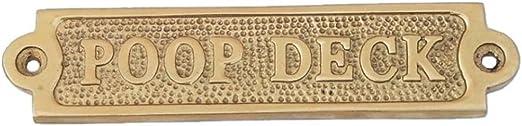 "Solid Brass /""Poop Deck/"" Door Sign Nautical Boat Cabin Wall Decor Plaque House"