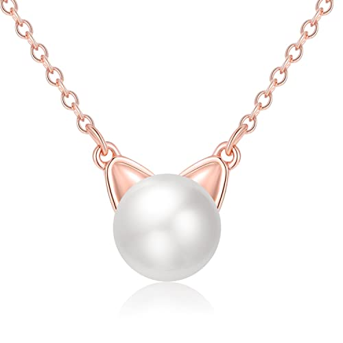 Cute silver cat pendant necklace 14mm pearl cat charm necklace cute silver cat pendant necklace 14mm pearl cat charm necklace valentines day girlfriend gift mozeypictures Image collections