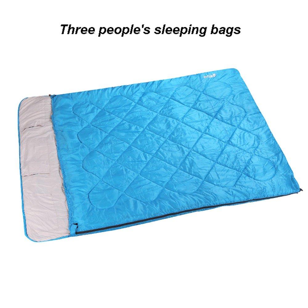 MUTANG ダブル寝袋アウトドアアダルトカップル冬の厚い暖かいキャンプ汚い家族スリースリープバッグオフィスナップスリーピングバッグ B07DQLV5RZ Triple sleeping bag Triple sleeping bag