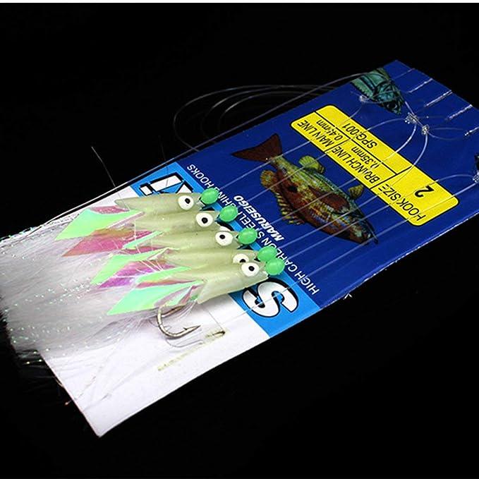 5 In 1 Sabiki Soft Fishing Lure Bait Rigs Luminous Fish Head String Hook Tackle