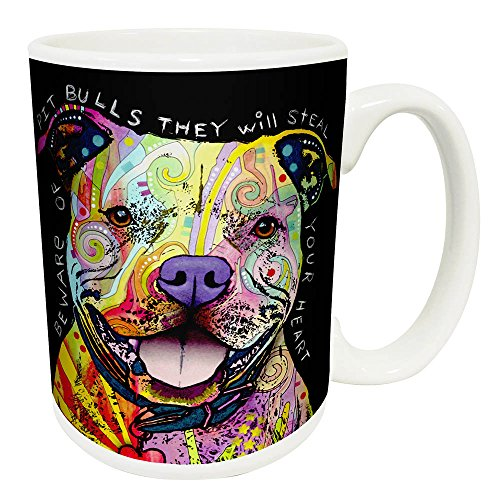 Dean Russo Dog Pit Bulls Steal Your Heart Quote Modern Animal Art Porcelain Gift Coffee (Tea, Cocoa) Mug, 15 Ounce ()