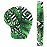 striped mouse pad - Keyboard Wrist Rest Pad and Mouse Wrist Rest Support Mouse Pad - Ergonomic Support - Premium Quality Foam - Durable & Comfortable & Lightweight For Easy Typing & Pain Relief(Black Striped Leaves)