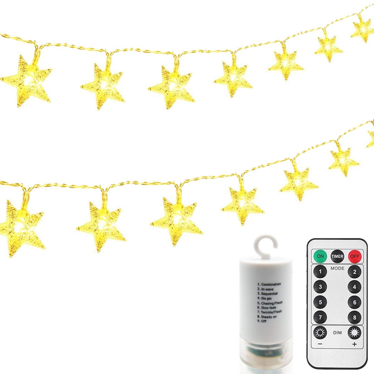EchoSari Battery Operated 4m Clear Cable 40 LED Indoor Fairy Lights w/Timer, 8 Modes, Warm White