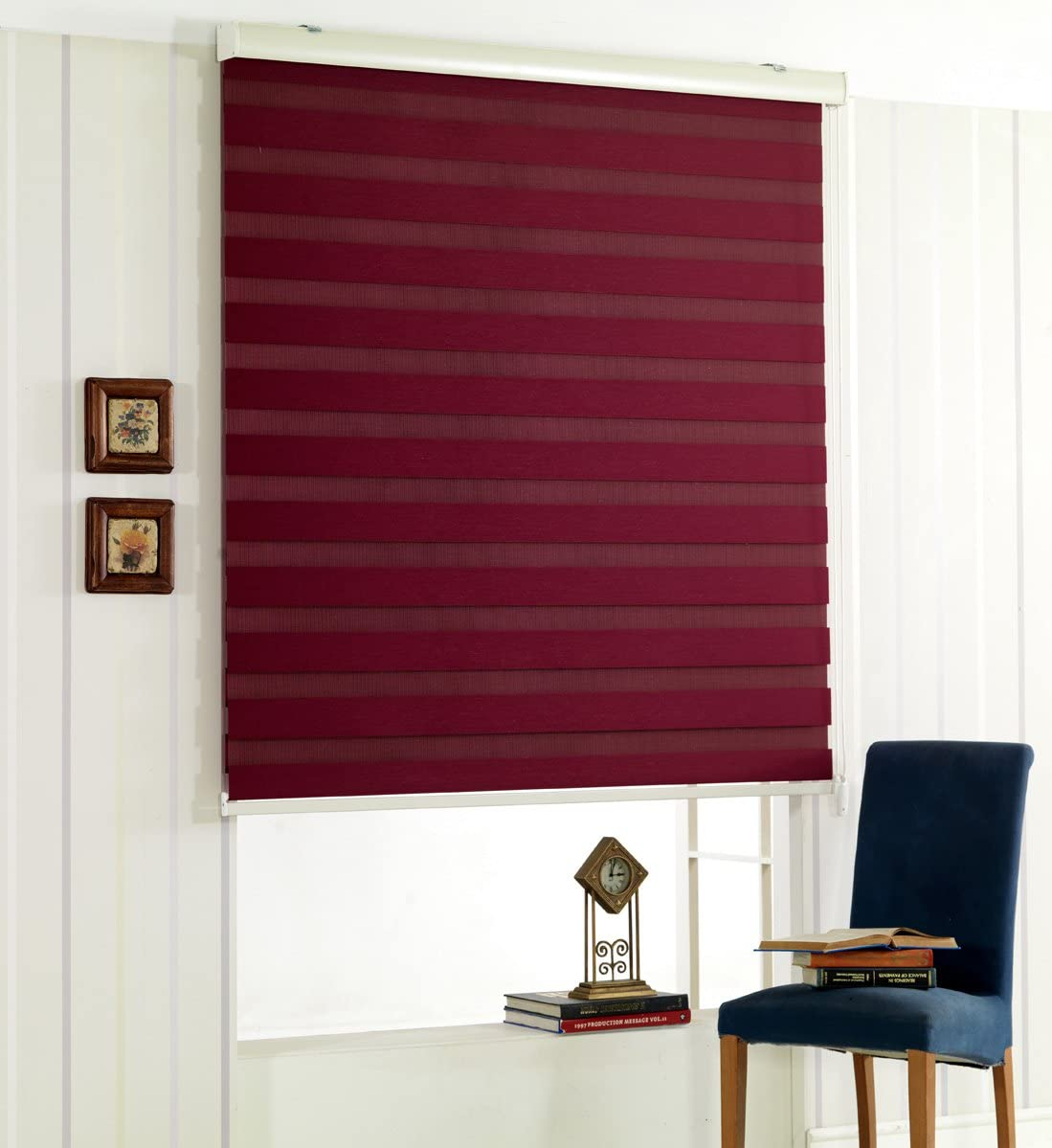 Foiresoft Custom Cut to Size, Winsharp Woodlook 47, Wine, W 91 x H 47 inch Zebra Roller Blinds, Dual Layer Shades, Sheer or Privacy Light Control, Day and Night Window Drapes, 20 to 110 inch Wide