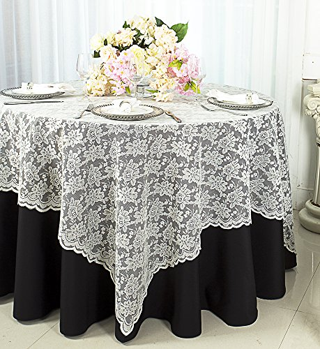 Wedding Linens Inc. 72 in x 72 in Lace Table Overlays, Lace Tablecloths Square, Lace Table Overlay Linens, Lace Table Toppers for Wedding Decorations, Events Banquet Party Supplies - -