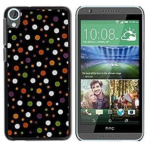FECELL CITY // Duro Aluminio Pegatina PC Caso decorativo Funda Carcasa de Protección para HTC Desire 820 // Spots Polka Dot Design Fabric Pastel