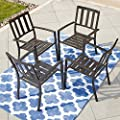 LOKATSE HOME Outdoor Patio Dining Decor Furniture Arm Chair with Metal Frame Set of 4, 4, Black