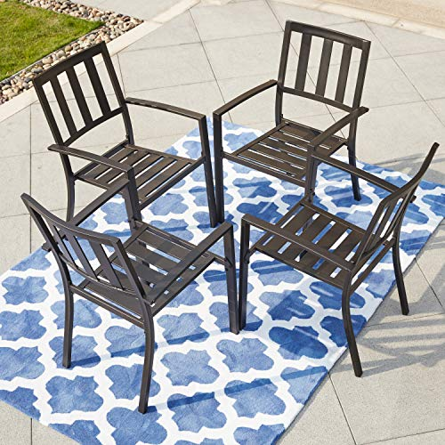 LOKATSE HOME Outdoor Patio Dining Decor Furniture Arm Chair with Metal Frame Set of 4, 4, Black (Depot Home Set Patio Dining)