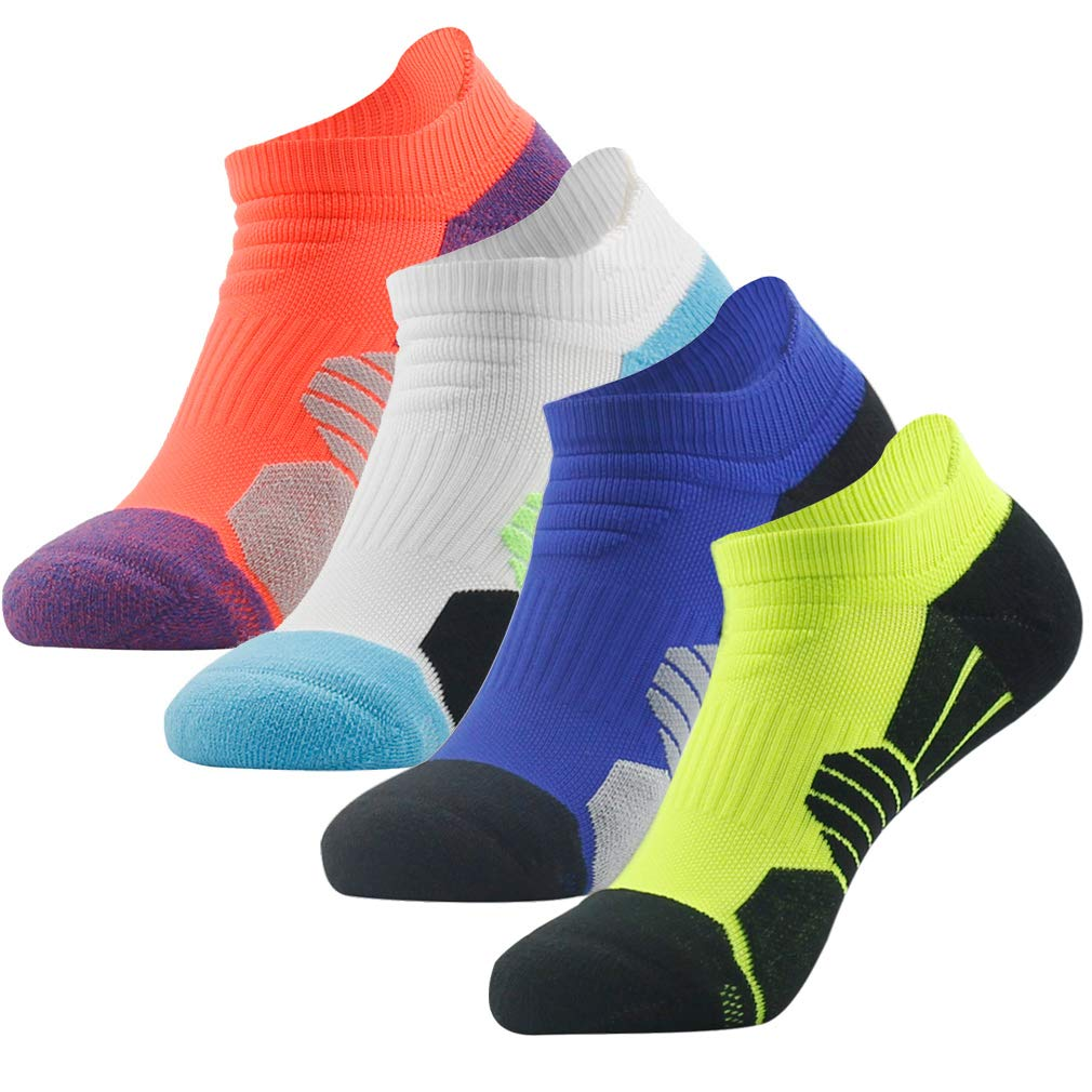NIcool Men's Women's Compression Running Socks, Dri-fit Arch Support Athletic Sports Performance Tab Cushioned Low Cut Socks, 4 Pairs, Multicolor by NIcool
