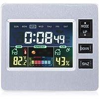 Asixx Estación Meteorológica Inalámbrica, Multifuncional Despertador Digital,con Gran Pantalla LCD,para Muestrar El Tiempo La Temperatura Y La Humedad