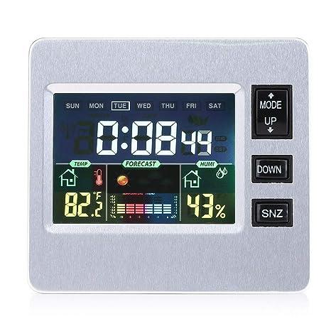 Asixx Estación Meteorológica Inalámbrica, Multifuncional Despertador Digital,con Gran Pantalla LCD,para Muestrar