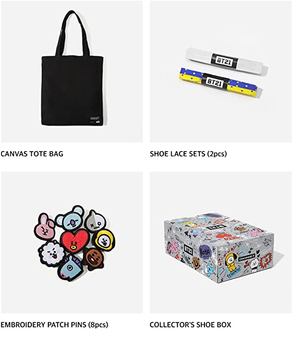53ead2d167b5 Amazon.com  BT21 x Converse Collarboration Chuck Taylor All Star Low White  (Limited)  Shoes