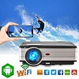 Caiwei 2018 Android 6.0 LCD Bluetooth Video Projectors 3500 Lumen Home Theater Wireless Mirror Projector for Smartphone iPhone Laptop, Support HDMI USB VGA Aux AV Multimedia Proyector LED 50,000hrs