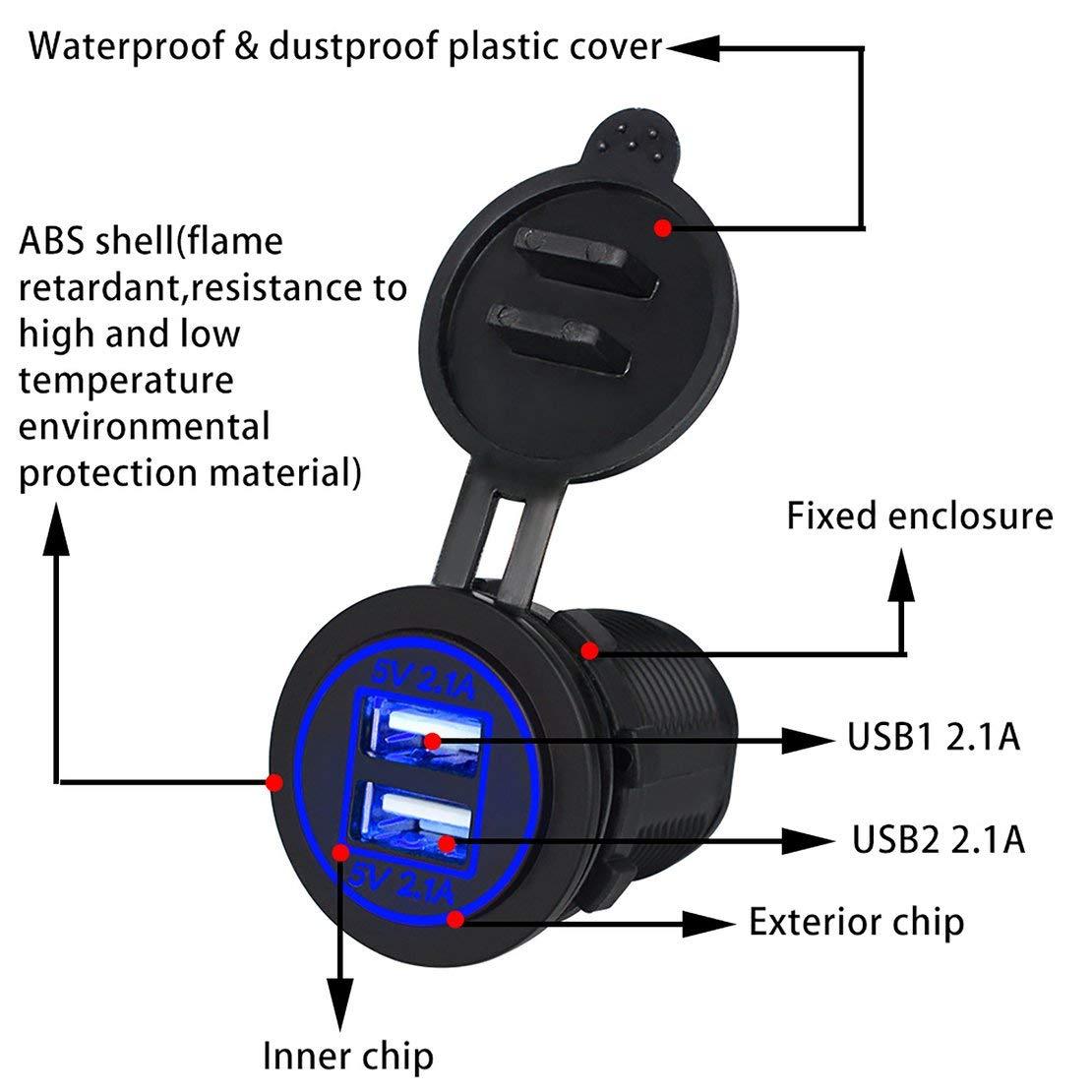 Il Nero Sanzhileg Presa delladattatore del Caricatore dellautomobile del Caricatore dellautomobile di Due Porte USB di Doppi 4.2A con Luce Adatta a motocicli 12V-24V Auto