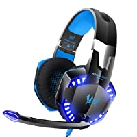KOTION G2000 Stereo Gaming Headset for Xbox One PS4 PC Desktop Computers, Surround Sound Over-Ear Headphones with Noise Cancelling Mic, LED Lights, Volume Control for Laptop, Mac, iPad, Nintendo Switch Games -Blue