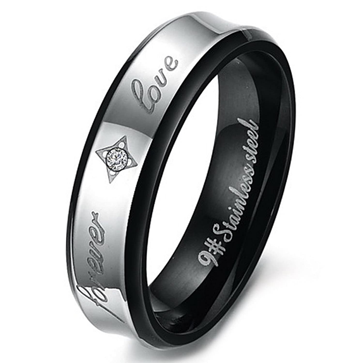 Amazon.com: INBLUE Men's Wide 6mm Stainless Steel Ring Band CZ ...