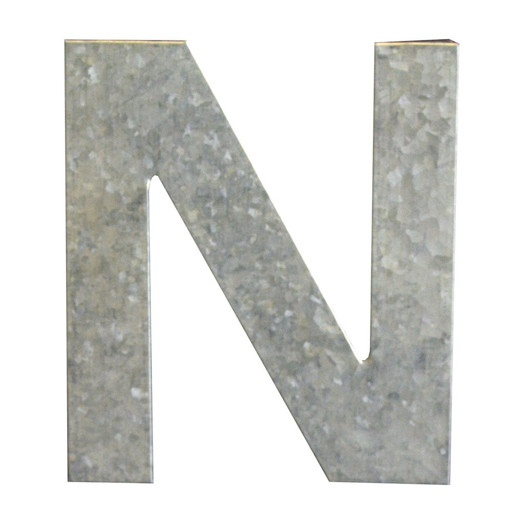 Modelli Creations Alphabet Letter N Wall Decor, Zinc