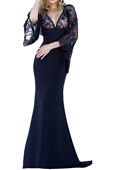 Sunvary Vogue Evening Prom Dresses Long Sleeves V-neck Mermaid Style Lace Backless Size 2