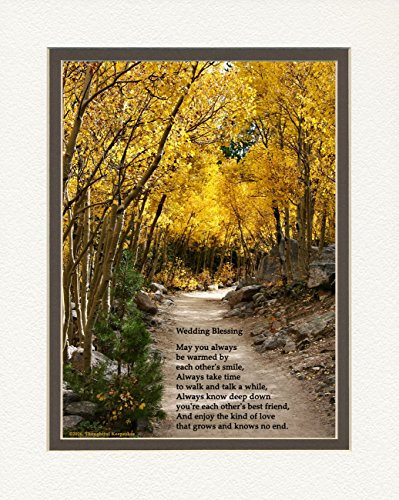 Wedding Gift for the Couple with Wedding Blessing Poem. Aspen Path Photo, 8x10 Double Matted. Special Wedding Keepsake for the Bride and Groom. (Wedding Poems For Bride And Groom From Friends)