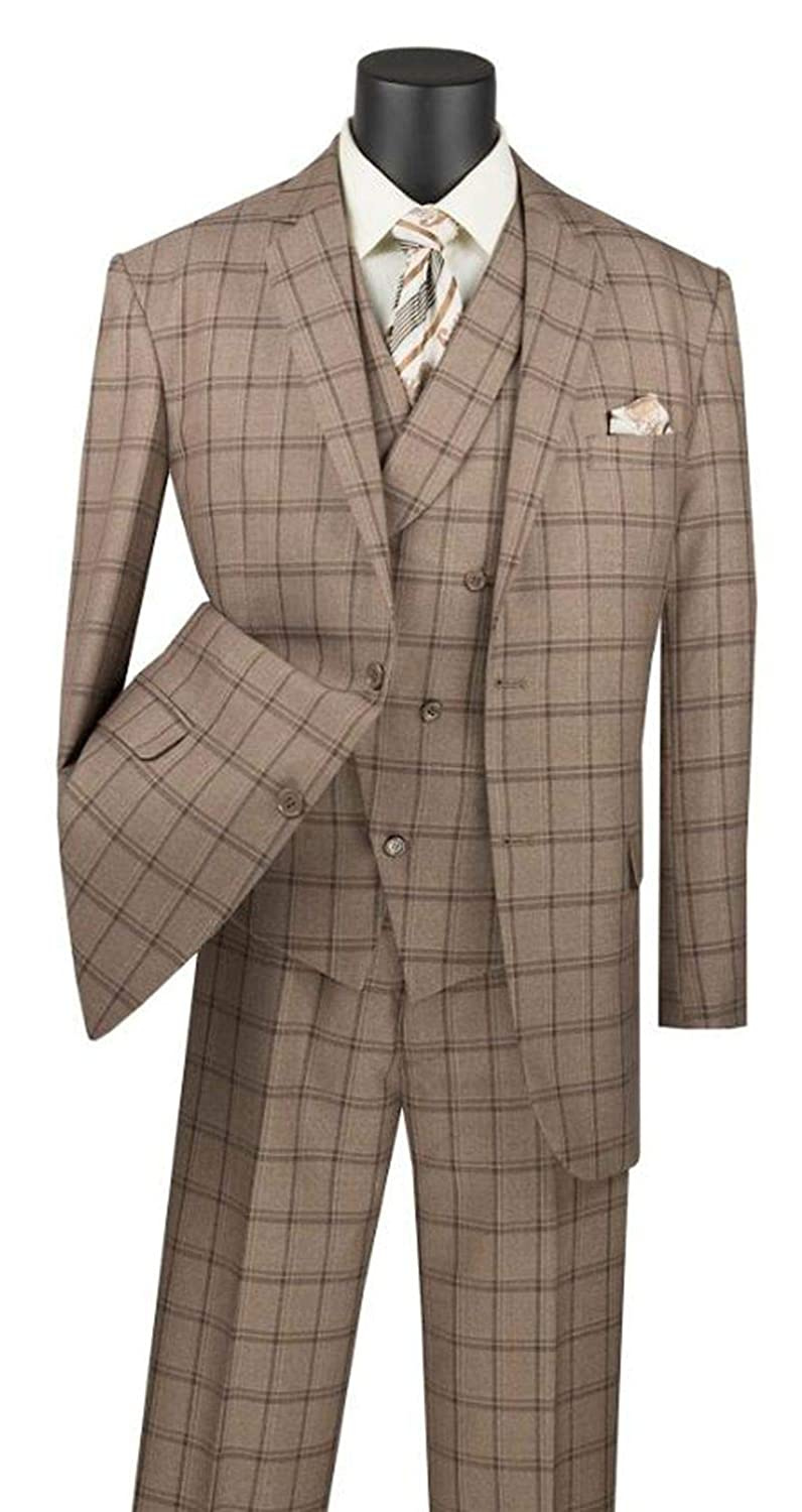 1920s Men's Suits History VINCI Mens Window Pane 2 Button Single Breasted Classic Fit Suit W/Shawl Collar Vest V2RW-12 $125.99 AT vintagedancer.com