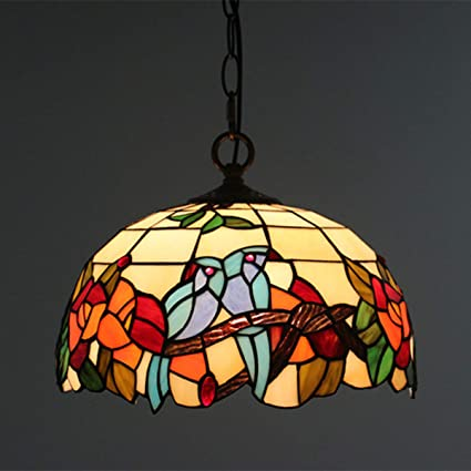 Amazon Com Gdlight Vintage Tiffany Style Pendant Lamp Birds