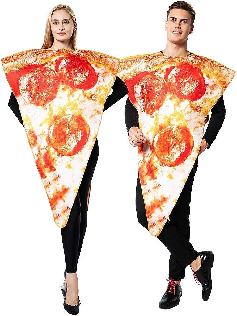 ReneeCho Adult's Pizza Slice Costume Halloween Mens Food Mascot Couple Match Women