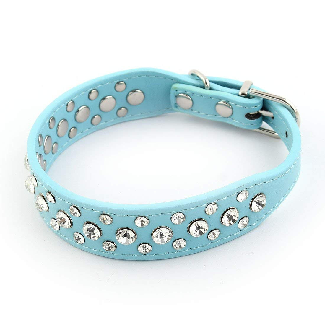 Faux Leather Artificial Rhinestone Ornament Puppy Pet Dog Training Neck Belt Strap Collar S bluee