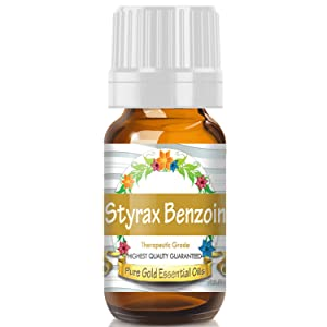 Pure Gold Styrax Benzoin Essential Oil, 100% Natural & Undiluted, 10ml