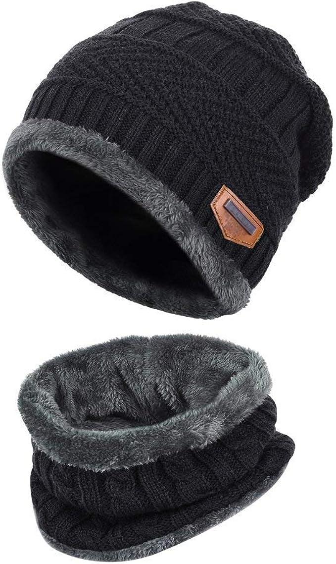 Men Winter Knitted Scarf and Hat Set Warm Knitting Woolen Thicken Ski Skull Cap