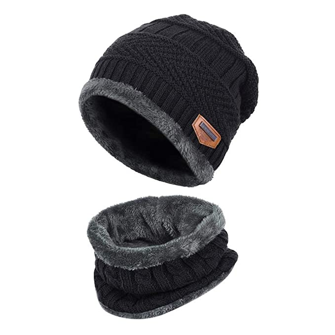 64edd772abd Aisprts Winter Beanie Hat Scarf Set Warm Knit Hat Thick Knit Skull Cap  Outdoor Sports Hat Sets for Men Women (Black)  Amazon.co.uk  Clothing
