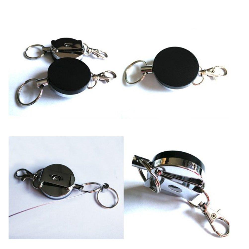 2pcs Schlüsselkette Versenkbare Schlüsselanhänger Ausziehbar Gürtelclip
