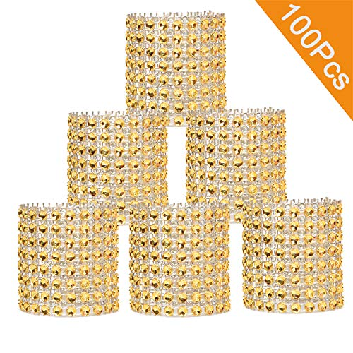 DearHouse Napkin Rings, Gold Napkin Rings Buckles Rhinestone Napkin Rings for Table Decorations, Wedding, Dinner,Party, DIY Decoration,Set of 100