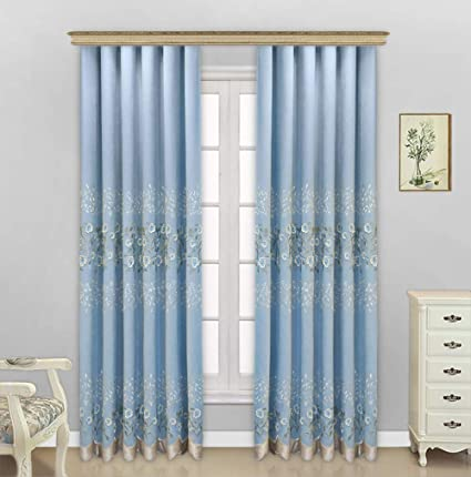 Luxury European Style Flower Embroidery Window Curtain Rod Pocket Panel Draperies Treatment For Living Room Dining