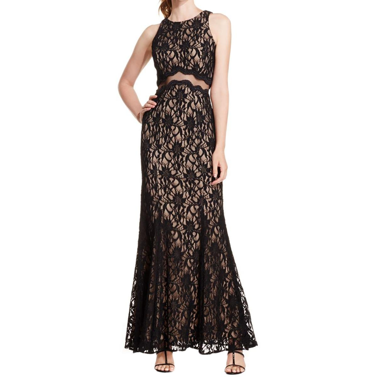 831b62cd5c1 Xscape Women s Illusion-Waist Sleeveless Lace Gown (8