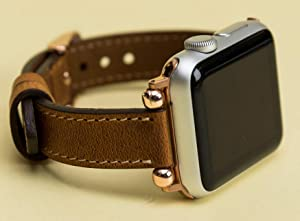 Slim Apple Watch Band for Women 38mm, 40mm, 42mm, 44mm Genuine Leather Thin iWatch Strap Brown, Pink, Red, Gray, Purple, Black Personalization Avaliable, EXPRESS SHIPPING, HANDMADE, READY to SHIP