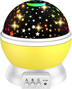 Cool Toys for 2-10 Year Old Girls, ATOPDREAM Night Light for Kids Gifts for 2-10 Year Old Girls Wonderful Star Projector Night Light for Kids Toys Age 2-10 Christmas Stocking Stuffers Yellow