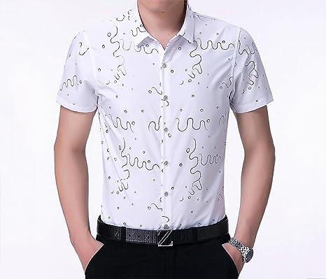 db198968c13 Camisetas para Hombres Camisa Casual Slim Fit Moda Solapa Impresión de Manga  Corta Tops del botón