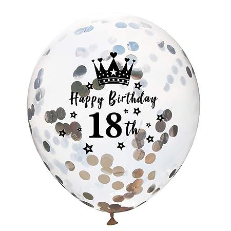 Wimagic - 10 Globos de Confeti con Corona para 18 cumpleaños ...