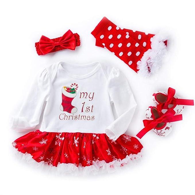 UMIWE Santa Claus Vestidos Navidad Pelele Bebé Niñas en Rojo Blanco Verde Colores con Venda Mameluco
