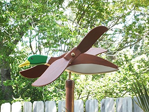 Mallard Duck Whirligig, handmade from solid southern cypress and solid brass hardware