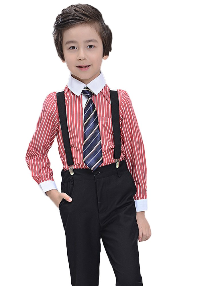 SK Studio Boys' 4 Piece Wedding Stripe Shirt Pants Suspenders Suits Black