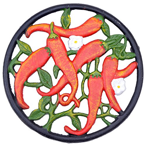 Decorative Cast Iron Trivet Hot Chilli Peppers 7