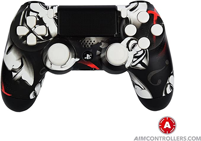PS4 DualShock 4 PlayStation 4 Wireless Controller - Custom AimControllers Anonymous Design with Paddles. Left X, right O: Amazon.es: Videojuegos