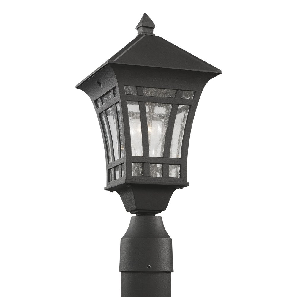 Sea Gull Lighting 82131-12 Herrington One-Light Outdoor Post Lantern with Clear Seeded Glass Panels, Black Finish