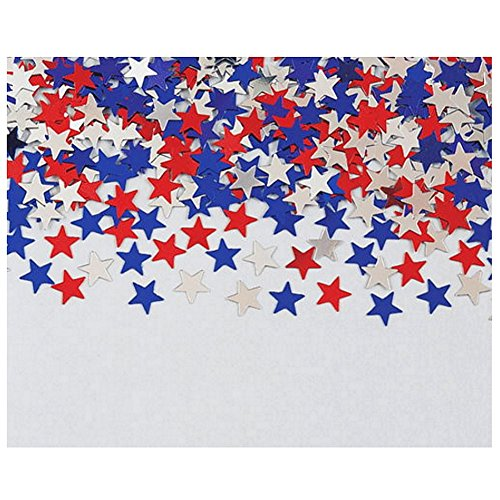 0.5 Ounce Confetti Stars - July 4th Red White And Blue Stars Confetti - .5 Ounce Bag