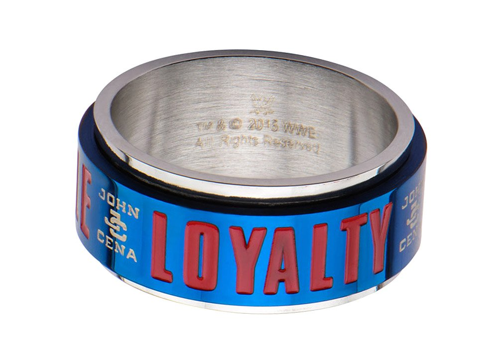WWE John Cena Hustle, Loyalty and Respect Men's Stainless Steel Spinner Ring ( Size 13)